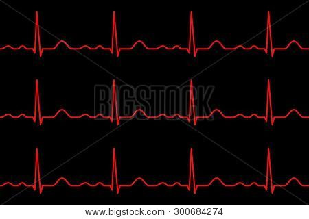 Ekg Lines. Heartbeat. Electrocardiography. Seamless Pattern. Healthy Heart. Medical Design. Vector I