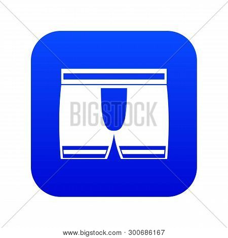 Man Boxer Briefs Icon Digital Blue For Any Design Isolated On White Vector Illustration