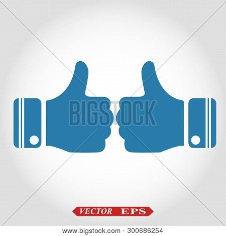 Thumb Up Vector Icon. Style Is Flat Symbol, Cobalt Color, Rounded Angles, White Background. Eps10