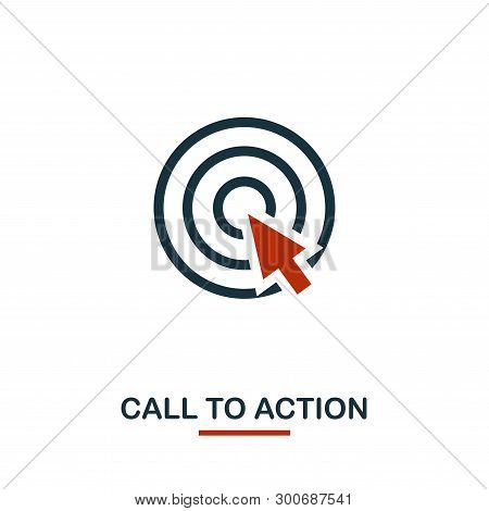 Call To Action Icon In Two Colors. Creative Black And Red Design From E-commerce Icons Collection. P