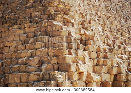 Stone Blocks Of The Great Pyramid Of Cheops In Cairo, Egypt
