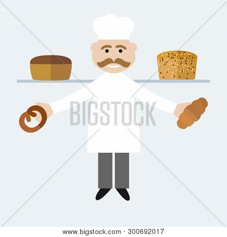 Vector Illustration Of Chief-cooker With A Mustache In A White Dress With A Bread