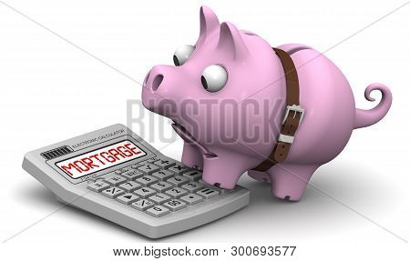 Unprofitable Mortgage. Financial Concept. Mumps (piggy Bank With Tightened Strap) Looks At The Calcu