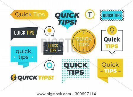 Advice Shapes. Quick Tips Helpful Tricks Emblems And Logos, Tip Reminder Banner Design Helped Inform