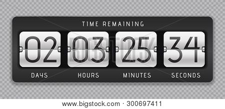 Countdown Flip Clock. Digital Counter, Analog Time Or Scoreboard, Remaining Time Banner Counter. Vec