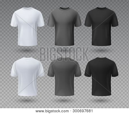Realistic Male T-shirt. White And Black Mockup, Front And Back View 3d Isolated Design Template. Vec