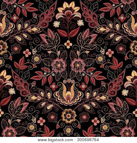 Embroidery Seamless Pattern With Beautiful Flowers. Vector Floral Ornament On Dark Background. Embro
