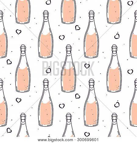 Champagne Bottle Celebration Seamless Vector Pattern. Hand Drawn Sparkling Wine Festive Background T