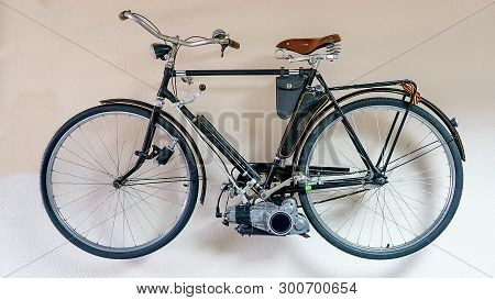 Vintage Soviet Bicycle With An Outboard Motor