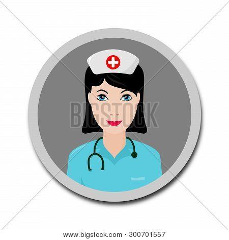 Nurse Icon Isolated Flat On White Background, Nurse Icon Vector, Flat Nurse Icon Web, Flat Nurse Ico
