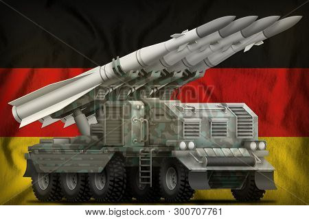 Tactical Short Range Ballistic Missile With Arctic Camouflage On The Germany Flag Background. 3d Ill