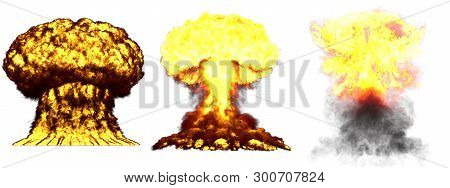 3 large very detailed different phases mushroom cloud explosion of fusion bomb with smoke and fire isolated on white - 3D illustration of explosion poster