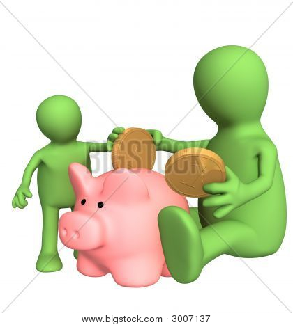 Adult and child together lowering coin in piggy bank. Object over white poster