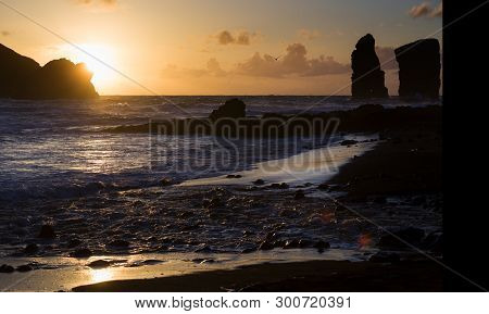 Beautiful Sunset Next To The Sea Shore In Mosteiros, Azores, Portugal