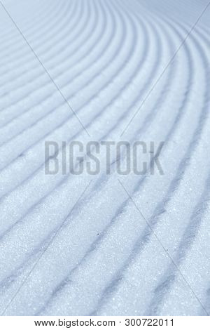 The Snowy Waves On A Ski Slope, Canazei, Italy