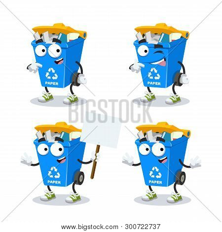 Set Of Cartoon Blue Recycle Garbage Can With Paper Character Mascot