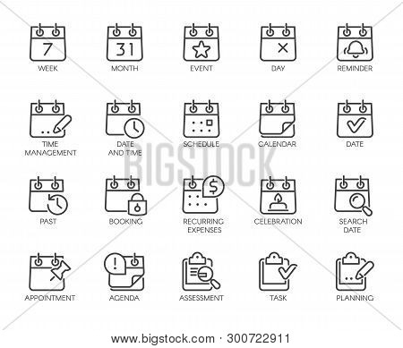Premium Icons Pack On Time Management Such Line Signs As Calendar, Time And Date, Month. Custom Vect