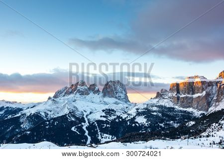 The Sunset Above Sassolungo And Col Rodella, Canazei, Italy