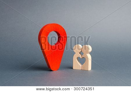 The Guy And The Girl Met At The Venue. Red Marker Location Between Them. Choosing A Place For An Int