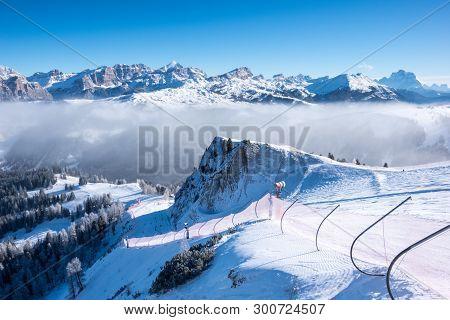 A Ski Slope Above Clouds, Alta Badia, Italy