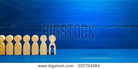 Generations Of People Are Standing On A Blue Background. The Chain Of Procreation Is Interrupted By