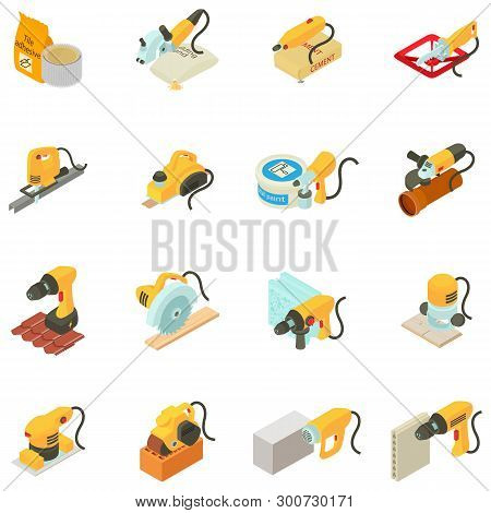 Repair House Icons Set. Isometric Set Of 16 Repair House Vector Icons For Web Isolated On White Back
