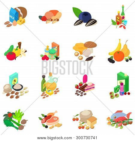 Foodstuff Icons Set. Isometric Set Of 16 Foodstuff Vector Icons For Web Isolated On White Background