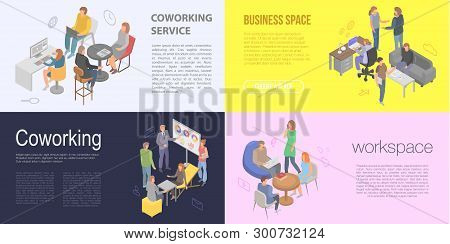 Coworking Banner Set. Isometric Set Of Coworking Vector Banner For Web Design