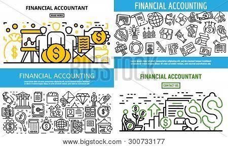 Accountant Financial Banner Set. Outline Set Of Accountant Financial Vector Banner For Web Design