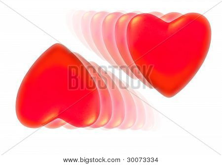 Two Series Of Fading Decreasing Red Hearts.