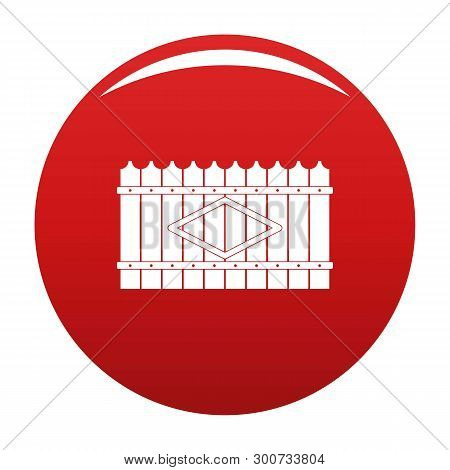 Wooden Peak Fence Icon. Simple Illustration Of Wooden Peak Fence Vector Icon For Any Design Red