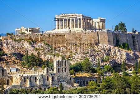 Acropolis Hill With Parthenon Temple, Athens, Greece. Famous Ancient Acropolis Is A Top Landmark Of