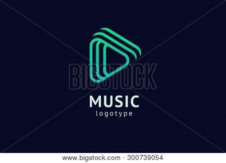 Vector Illustration, Graphic Design Headphone Logotype. Abstract Music Icon Vector Design. Sound Rec