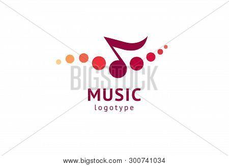 Vector Illustration, Graphic Design Note Web Logotype. Abstract Music Logo Icon Vector Design. Sound