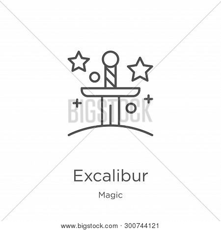 Excalibur Icon. Element Of Magic Collection For Mobile Concept And Web Apps Icon. Outline, Thin Line