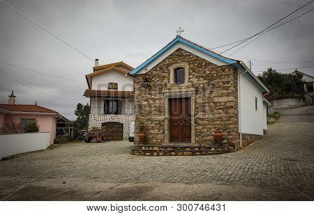 Small Chapel In Bairro Da Eira At Janeiro De Cima Schist Village, Fundao, Portugal
