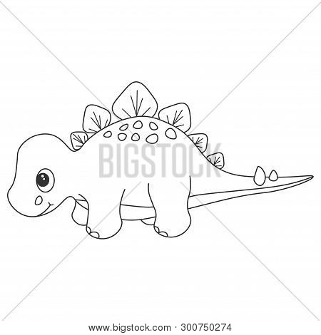 Contour Of Dinosaurus Stegosaurus, Which Can Be Used As A Coloring. Isolated On White Background. Ve