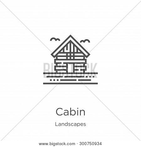 Cabin Icon. Element Of Landscapes Collection For Mobile Concept And Web Apps Icon. Outline, Thin Lin