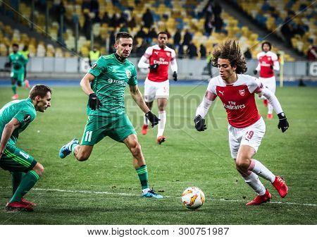 Kyiv, Ukraine - November 29, 2018: Matteo Guendouzi Of Arsenal (#29) Controls A Ball During The Uefa