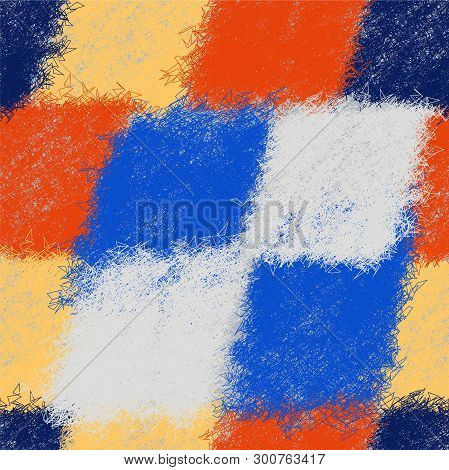 Seamless Patchwork Diagonal Pattern With Colorful Weave Shaggy Elements For Plaid,carpet,rug