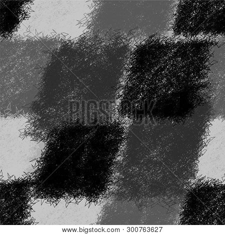 Seamless Diagonal Pattern With Grunge Striped Shaggy Elements In Black,white,grey Design