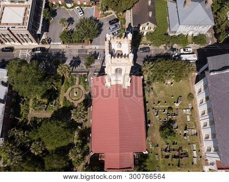 Aerial high angle view of historic Unitarian Church in downtown Charleston, South Carolina.