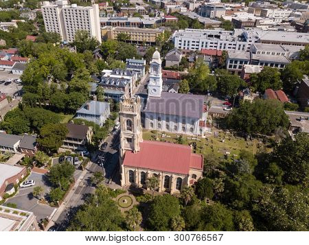 Aerial view of historic churches in downtown Charleston, South Carolina.