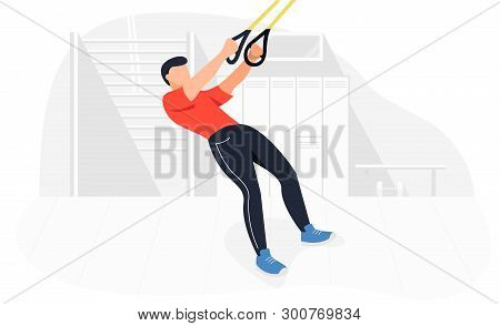 Fit Man Working Out On Trx Doing Bodyweight Exercises. Fitness Strength Training Workout.