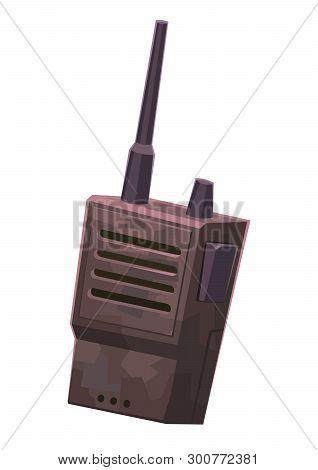 Walkie Talkie Portable Handheld Radio Cartoon Illustration Vector
