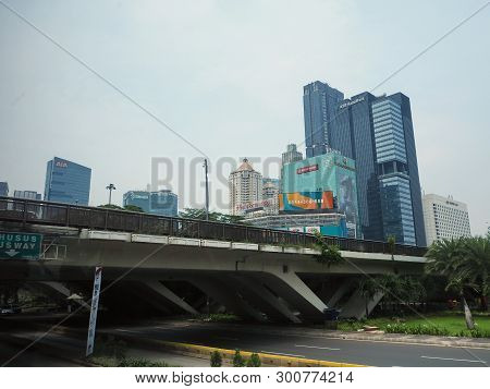 Jakarta, Indonesia - April 17, 2019: Background Of Tall Buildings Of Semanggi District On Jalan Sudi