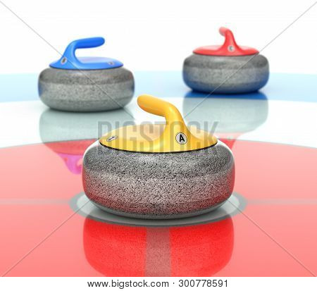 Yellow, Red And Blue Curling Stones In Curling Rink - 3d Illustration
