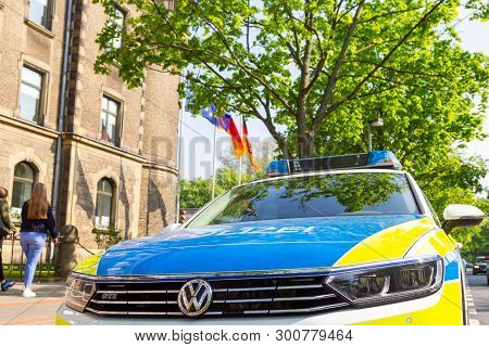 Hannover / Germany - May 9, 2019: German Police Car Stands In Front Of A Police Department In Hannov