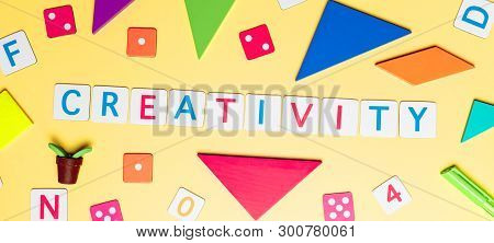 Creativity Concept With Toy And Objects For Child Education Concept On Yellow Background