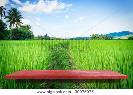 Red Wooden On Paddy Farm Nature Background Product Display Shelf Table Top Copy Space Background